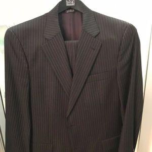 Jos A. Banks Mens Charcoal Striped Suit